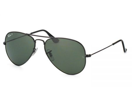 Ray-Ban Aviator Black Green Polarized RB 3025-002/58