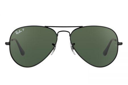 Ray-Ban Aviator Black Green Polarized RB 3025-002/58