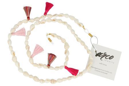 Brillenkette Muscheln Weiss mit Quasten Pink